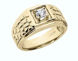 18kt 0.53ct Gypsy Diamond Ring Mens Nugget Ring 18kt Yellow Gold