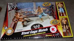 Mattel Wwe Kmart - Ring Steel Cage Match - With John Cena And Randy Orton Figures
