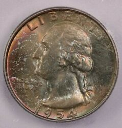 1954-d 1954 Washington Quarter Icg Ms67+ Wow What A Beauty Colorful Toning