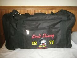 1971 Mickey Mouse Duffle Bag Walt Disney World Tote Black Expandable Carry On
