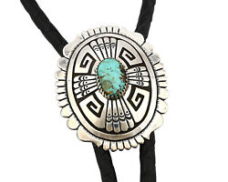 Navajo Bolo Tie .925 Solid Silver Bisbee Turquoise Signed Thomas Singer C.80's