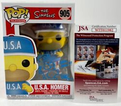 Tone Rodriguez Signed And Sketched The Simpsons Usa Homer Funko Pop Auto Jsa Coa