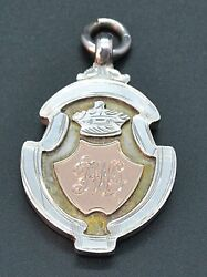 Sterling Silver Albert Pocket Watch Chain Fob 9ct Gold W Haseler Antique