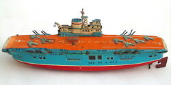 Vintage Tin Toy Usaf Aircraft Carrier Wind Up Boat Air Force Ship Marusan Japan