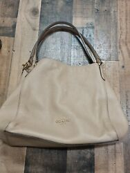 Women's Coach Shoulder Bag Taupe beige Pebble Leather Lush And Plush $69.99
