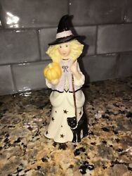 Lenox Girl Figurine Witch With Pumpkin And Black Cat