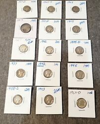 90silver Dimes,14 X Mercury Dimes 1917-1945 And 1 X 1964 Roosevelt Dime,lot Of 15