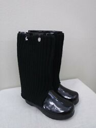 New Sanita 8.5 9 39 Tall Black Patent Leather Sweater Roll Top Staple Clog Boots