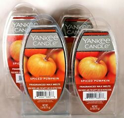 NEW YANKEE CANDLE SPICED PUMPKIN FRAGRANCED WAX MELTS 2.6 OZ. LOT OF 4 PACKAGES