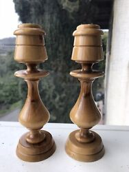 """VINTAGE PAIR WOODEN CANDLESTICK HOLDERS lot Of 2 6"""""""
