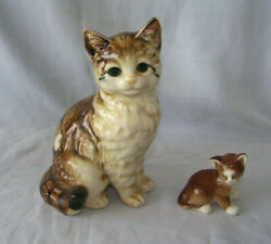 2 Vintage Cat Figurines One Porcelain Made in Russia