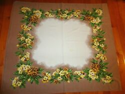 VINTAGE TABLECLOTH COCOA BROWN BORDER YELLOW FLOWERS BRIGHT GRN LEAF 51quot; x 44quot;