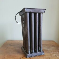 Antique 1800s Primitive Tin Metal Candle Mold 24 Tubes With Handle