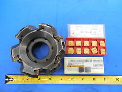 Seco Carboloy R220.13-04.00-12 Face Mill Cutter W/ 10 Inserts Sekr 1204 Af 1.5