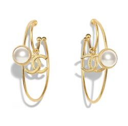 Authentic Sold Out Cc Logo Gold Drop Double Hoop Pearl Earrings Rare