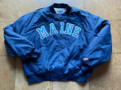 Vintage Ncaa Maine Black Bears Lined Swingster Bomber Spell Out Jacket Mens 2xl