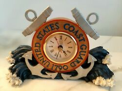 American Heroes Battery Desk Clock United States Coast Guard 1790 Preowned