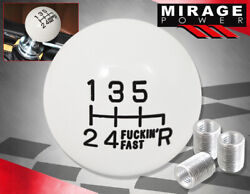 For Scion 6-speed Round Ball Type Solid Shift Knob Adapter Set Threaded White