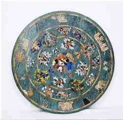 30and039and039 Antique Green Marble Table Top Inlay Pietra Dura Coffee Center Mosaic H2