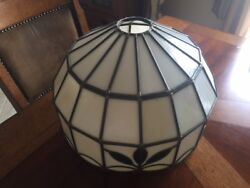 Vintage Mid-century Leaded Slag Stained Glass Antique Lamp Shade - Fast Shipping