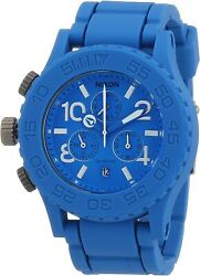 Nixon Menand039s Watch The Rubber 42-20 Chrono Sky Blue A309917-00