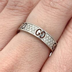 18k White Gold And Diamond Icon Stardust Thin Band Ring Ng26