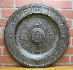 Antique Mythological Characters Decorative Arts High Relief Metal Charger Plaque