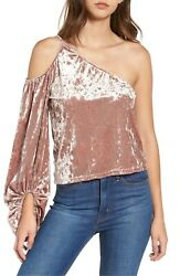 Leith Crushed Velvet Top Cold Shoulder Women#x27;s Size Small Pink Adobe 152383 $20.30
