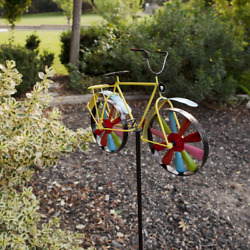 Metal Bicycle Wind Spinner Stake Outdoor Decoration Lawn Garden Patio Yard Art