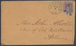Us 1857 Americus Ga Blue Fancy Cancel To Athens Ga Stamp Partly Clipped See Scan