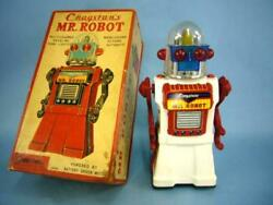 Craqstan's Mr.robot Electric Tin Toy Battery Powered White Body 50's Vintage