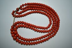 Genuine Old Mediterranean Red Coral Bead Ancient Tibetan Red Coral Bead Necklace