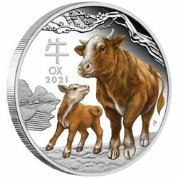 Lunar Year Of The Ox 2021 1 Kilo Pure Silver Color Coin Capsule Perth Australia