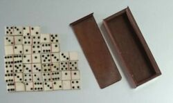 Antique Dominoes In Wood Box Miniature Doll House