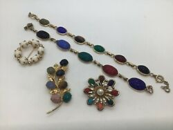 Lot Of Vintage Scarab Goldtone Jewelry 2 Circle Brooches, 2 Bracelets, Leaf Pin