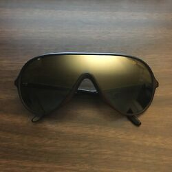 Vintage Bausch Lomb Wings Shield Aviator Sunglasses Brown Nylon Frame France