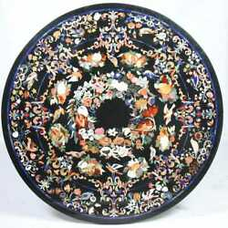 4'x4' Black Marble Round Center Dining Table Top Inlay Pietra Dura Antique Home