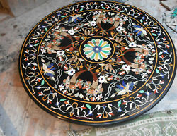 4'x4' Antique Black Marble Center Coffee Table Top Stone Inlay Decor Mosaic
