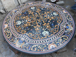 4and039 Black Marble Dining Table Top Semi Precious Stones Inlay Antique Mosaic