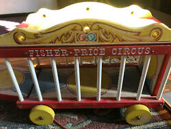 Vtg 1964 Fisher Price Wood Circus 900 Animals Figures Accessories Wagon Pull Toy