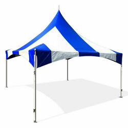 Commercial 20x20 High Peak Tent Event Party Canopy Blue Striped Vinyl Gazebo