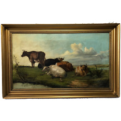Fine 19th Century Oil Painting Cattle In Water Meadow Attributed William Fleming