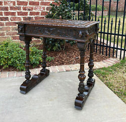 Antique English Walnut Sewing Table End Table Game Card Table Lift Top Humidor