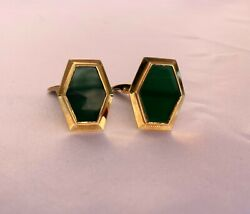 Magnificent French 18k Yellow Gold Green Carved Glass Cufflinks And039must Seeand039