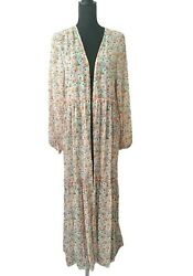 Womens Kimono Floral Print Cover Up Long Sleeve Tier Coral M/l Xl/xxl Wild Fable