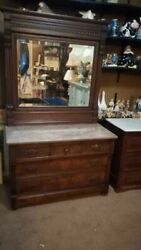 Antique Marble Top Carved Chest And Mirror Tilt Mirror Wood Casters Gorgeous