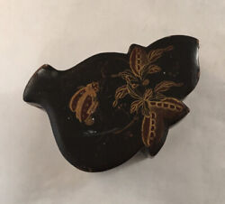Antique Japanese Lacquered Box With Beetle Insect Foliage Decoration