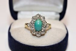Antique Original Victorian 18k Gold Natural Diamond Turquoise Decorated Strong