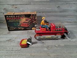 Magic Action Bulldozer Normura Japan 1960's Battery Operated Tin Toy Vintage As