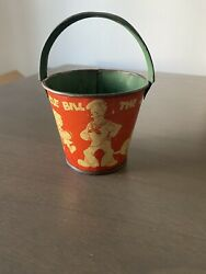Vintage 1930 Red Barnacle Bill The Sailor Tin Sand Pail/bucket